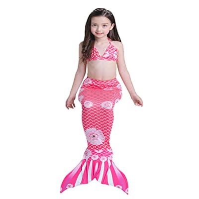65cedee40 HUPLUE Sparkle Mermaid Tail With Monofin Swimmable Costumes Swimwear Suit  For Girls Kids