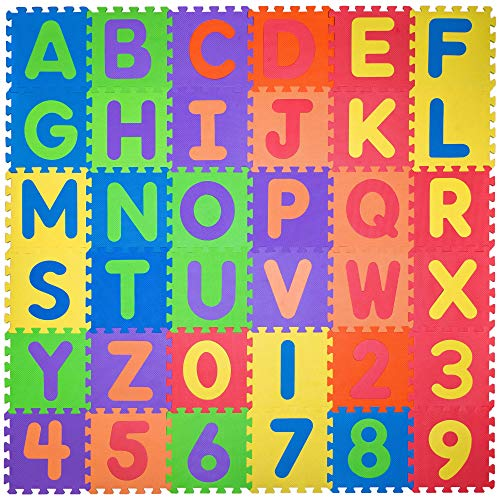 Non Toxic Play Mat for Kids Toddlers - Foam Puzzles Thickest Alphabet ABC & Numbers 0-9 Play & Exercise Mat 36 Tiles 12x12 Floor Coverage 36 Sq Ft (Countries With The Letter X In Them)