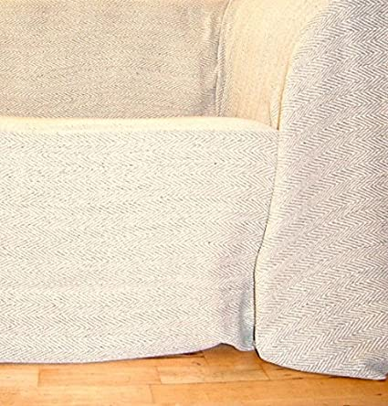 100% Cotton Extra Large Natural/Beige Herringbone Throw 259x394 cms for  large 3 and 4 seater sofas