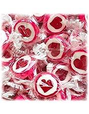 Hartbonbons voor bruiloft doop communie 500g - handgewikkelde rokkenbonbons met hart - tafeldecoratie snoepwerk gastgeschenk (rood)