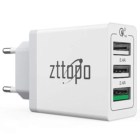 Zttopo Cargador USB 3 Puertos 30 W Quick Charge 3.0 Cargador ...