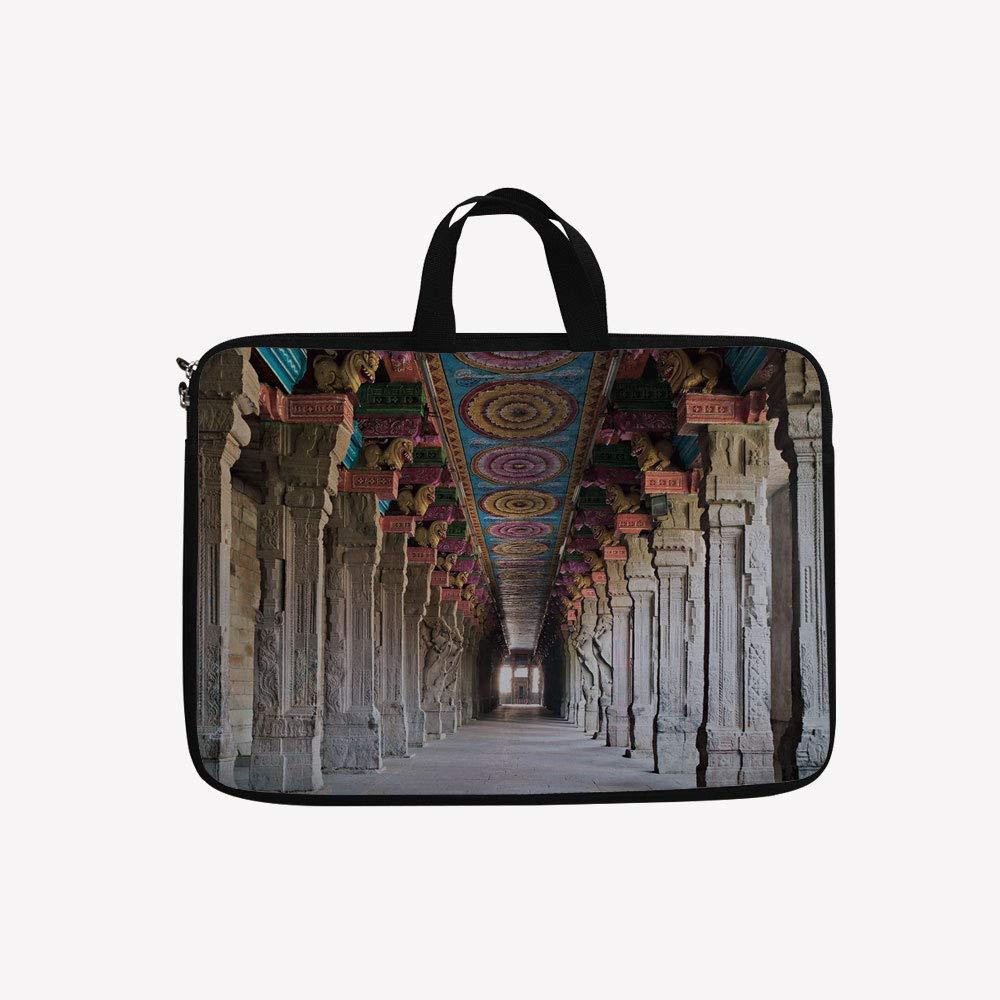 贅沢 3D Temple プリント ダブル ファスナー ラップトップ バッグ、オシリアンで飾られたHatshephut カラー4 マルチカラー Temple 10インチキャンバス防水ラップトップショルダーバッグ 9.7