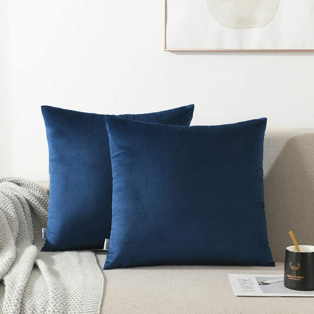 NordECO HOME Pack of 2 Throw Pillow Covers Cases - Square Decorative Cushion Covers for Sofa Couch Bed Home Decoration, 18 x 18, Dark Blue