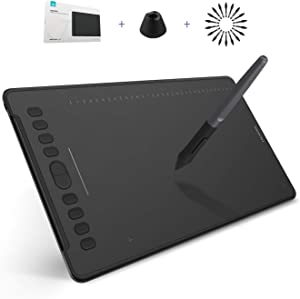 HUION Inspiroy H1161 Graphics Drawing Tablet Android Support with Battery-Free Stylus 8192 Pressure Sensitivity Tilt Touch Bar 10 Press Keys for Art Animation Beginner-11inch