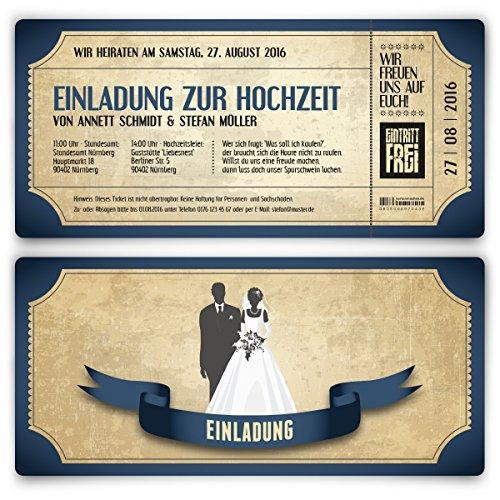 Einladungskarten zur Hochzeit (20 Stück) als Eintrittskarte im Vintage Ticket Look Hochzeitskarten