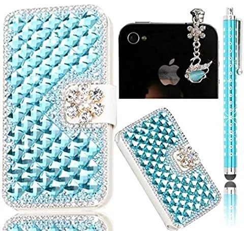 ZTE Grand X Max 2/ZMax Pro Case,Sunroyal 3D Bling Diamond Crystal Rhinestone Wallet Case With Card Slot PU leather Magnetic Closure Flip Stand Cover Skin + Anti Dust Plug + Metal Stylus Pen - (Zte Zmax Phone Cases With Pearls)