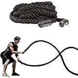 FireBreather Training BATTLE ROPES with ANCHOR KIT. Best Workout Equipment for Total Body Exercise to improve Cardio, Strength & Power. Premium 1.5 Inch Poly Dacron Battling Rope in 30, 40 & 50 Ft