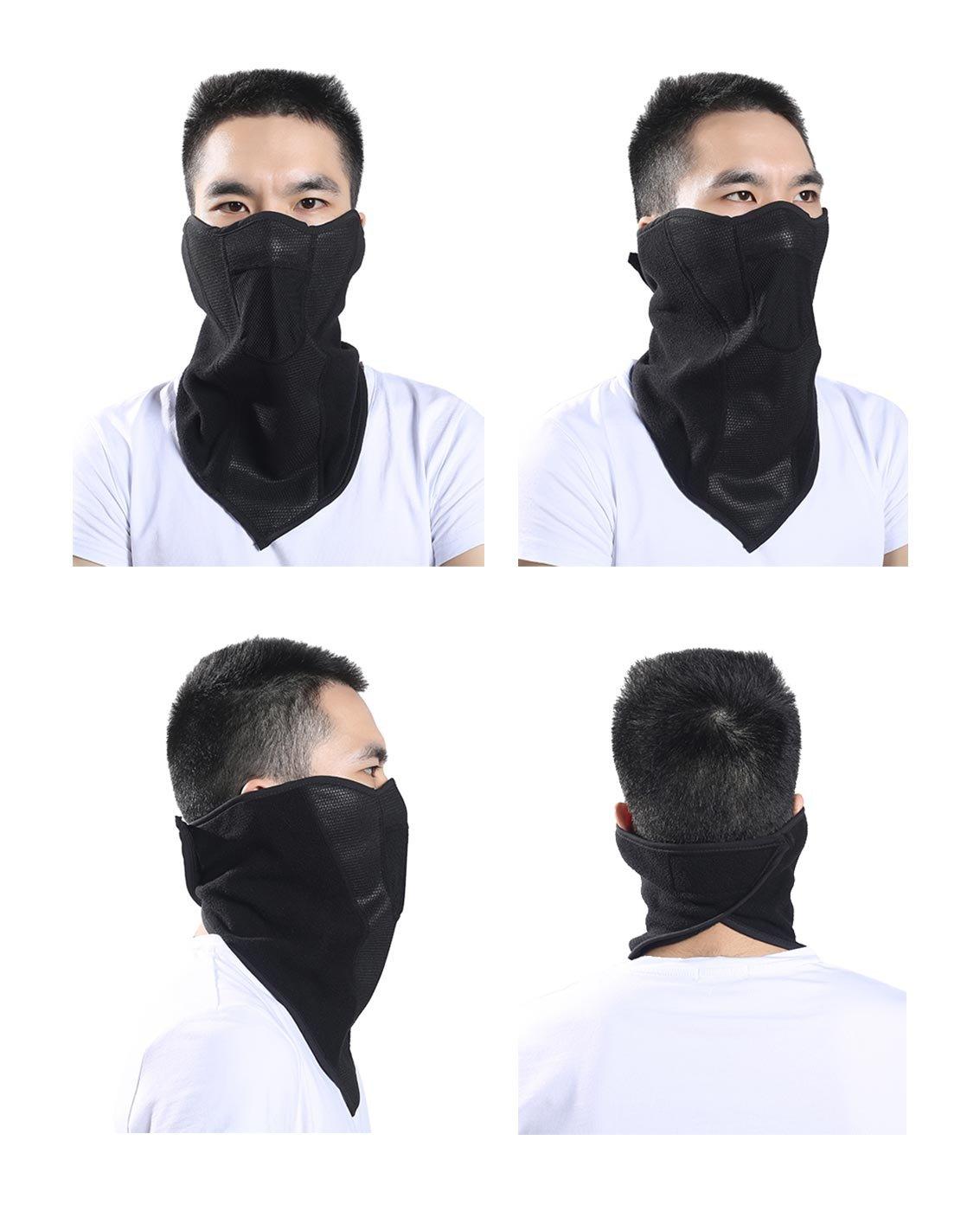 5a082a1047b Tour de Cou Masque pour Motards Cycliste Unisexe Hiver Protection Nez  Bouches Oreilles Cou Chaud Respirant Réversible Taille Réglable Masque en  Polaire ...