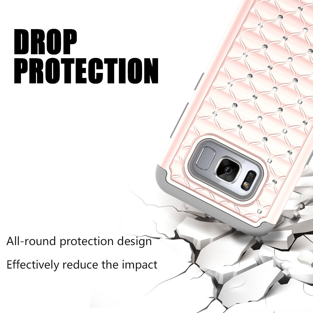 S8 Case, MagicSky [Shock Absorption] Studded Rhinestone Bling Hybrid Dual Layer Armor Defender Protective Case Cover For Samsung Galaxy S8(Rose Gold/Grey)