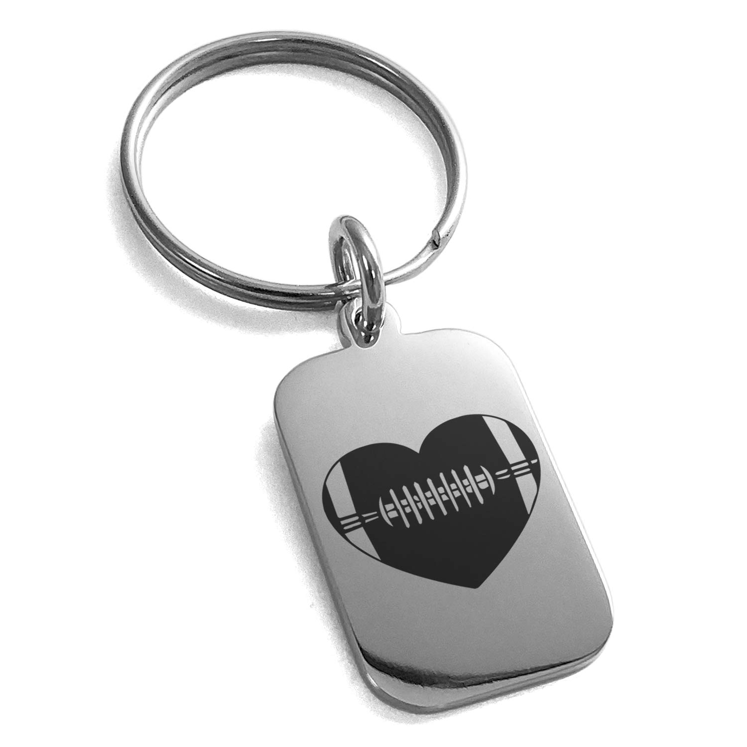 Tioneer Stainless Steel Love Football Heart Engraved Small Rectangle Dog Tag Charm Keychain Keyring