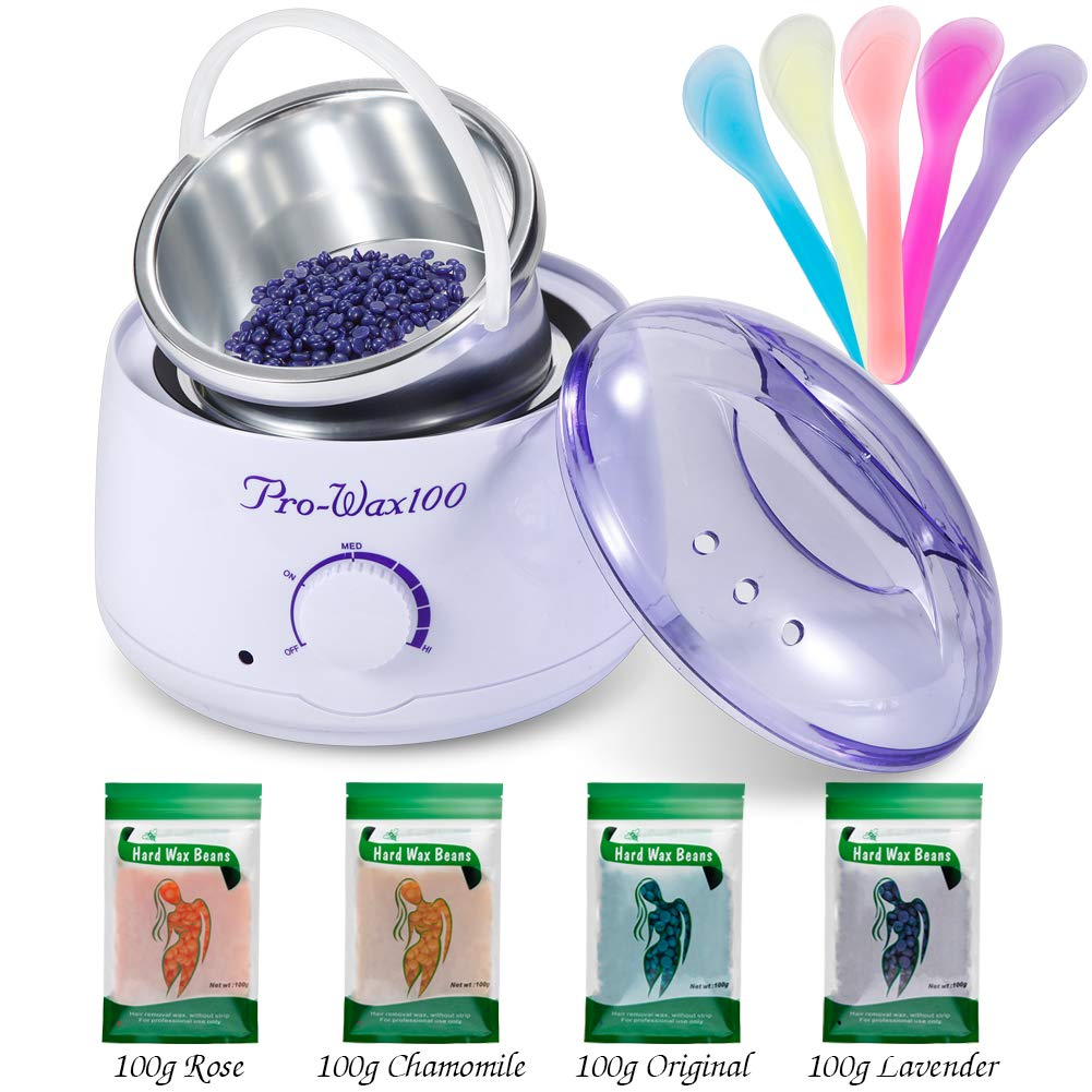 Wax Heater Professional Electric Warmer Wax Kitwith 4 Kinds of Hard Wax Beans 5 Pcs Recycled Wax Sticks Body Hair Removal Gree-rgeous