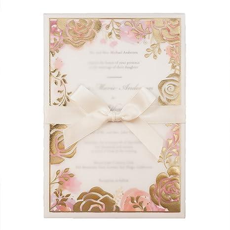wishmade flores fondos Kit de tarjetas de invitaciones de boda con cinta y sobres proporcionar personalizado