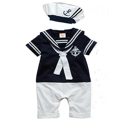 Ouneed 1set Pelele de bebé Niños gorro de algodón de manga corta bebé traje de marinero