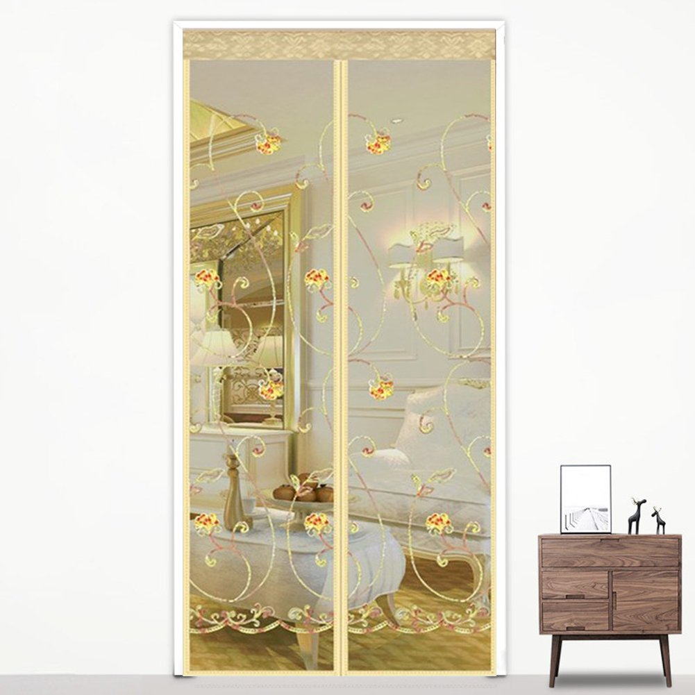 TwinkBling Magnetic Screen Door Soft Mosquito Fly Insect Screen Mesh Curtain Keep Fresh Air in & Bugs Out (90 x 210cm, Coffee elk)