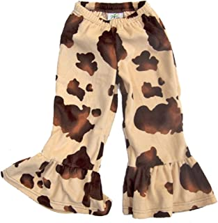 product image for Cheeky Banana Baby/Toddler Girls Minky Western Ruffle Pant Brown Pony Print