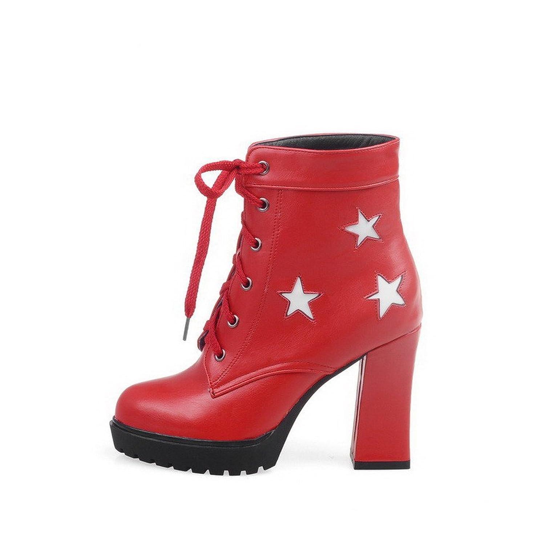 AgooLar Damen Hoher Absatz PU Zweifarbig Schnüren Stiefel, Weiß, 34