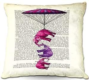 "DiaNoche Designs PilLINMadameMemElephantsPara2 Outdoor Patio Couch Throw Pillows, 18"" x 18"""
