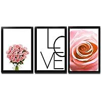 Kit 3 Quadros Decorativos Com Moldura Para Sala Quarto Amor Rosas Buquê de Flores