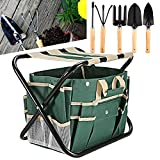 Rendio Garden Tool Set Folding Stool W/Tool Bag & 5 Stainless Steel Tools-7 Piece