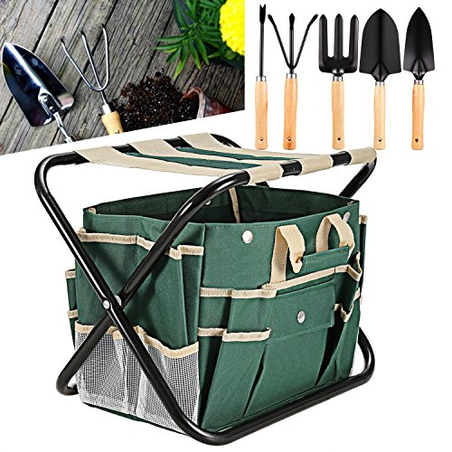 Long Aluminum Inner Side Box - (US Stock) 7 Piece Garden Tool Set, Hindom 5 Sturdy Stainless Steel Tools, All-In-One Tool Bag Durable Folding Stool