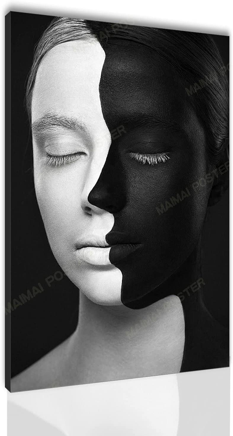 Black and White Face Canvas Art Poster and Wall Art Picture Printing Modern Home Bedroom Decoration Poster Santa RONA (24x36inch,No Framed)