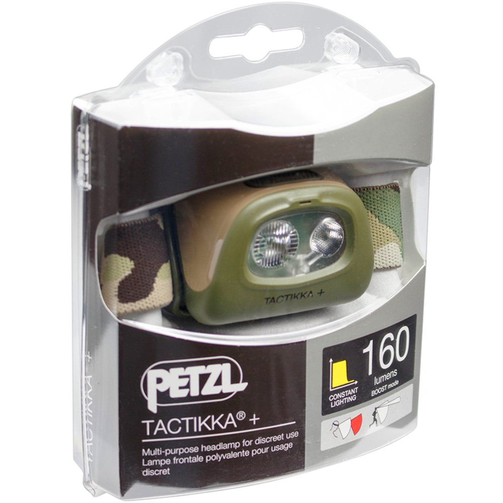 , LED, 2 LM, 250 LM s Petzl Tactikka + Linterna con Cinta para Cabeza, Camuflaje, 2 l/ámpara Linterna