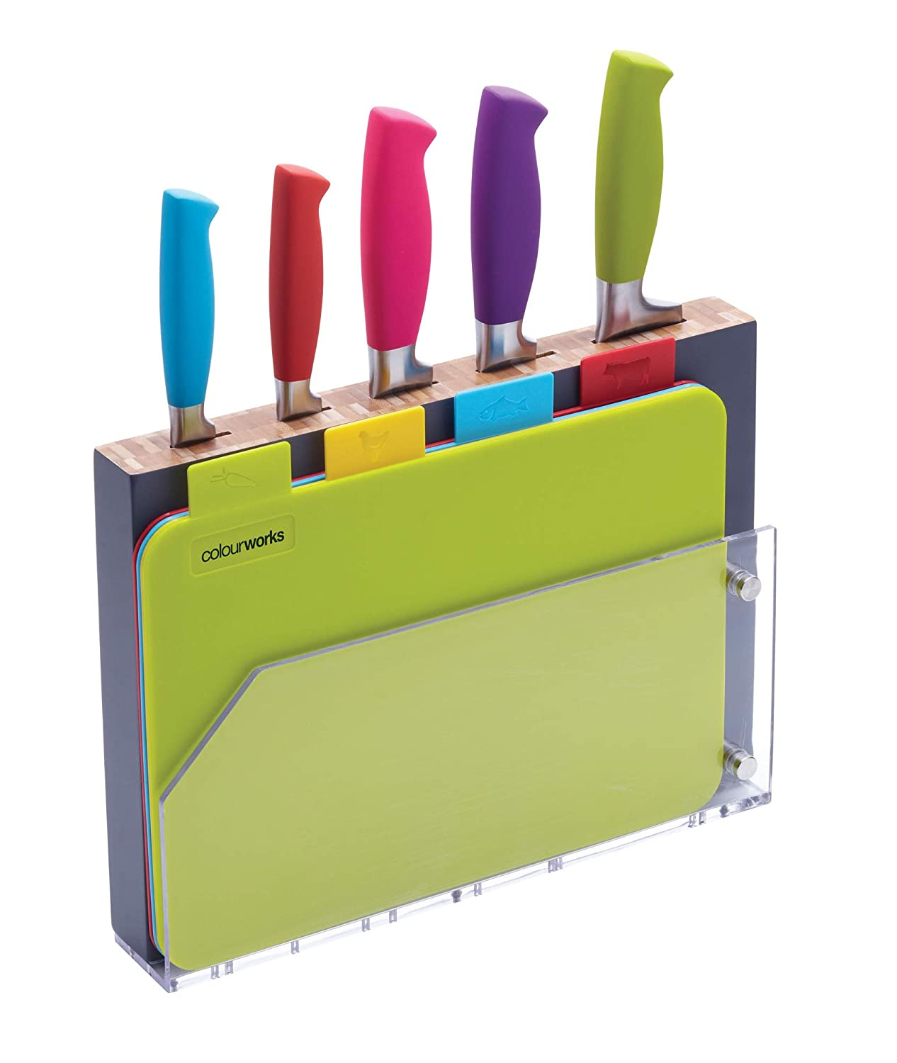 KitchenCraft Colourworks 5 Piece Easy Grip Knife Set with Storage Block Kitchen Craft CWKNB20