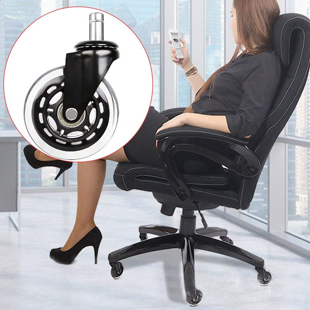 Fevas 5Pcs Office Hard Floors Wheel Insertion-Type Durable Chair Furniture Universal Transparent Wearproof