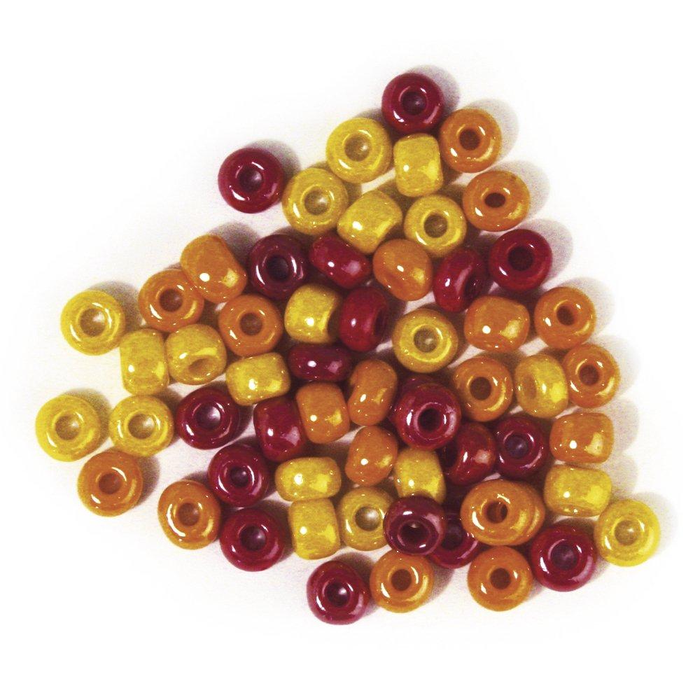 Rayher 1439000groß Trou radl de Verre Opaque Rouge/Jaune Tons, Weber àƒ 5,4mm, Boîte RAYHER HOBBY