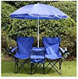 MD Group Picnic Chair Foldable Light-weight Adjustable Removable Umbrella Outdoor Garden Funirture