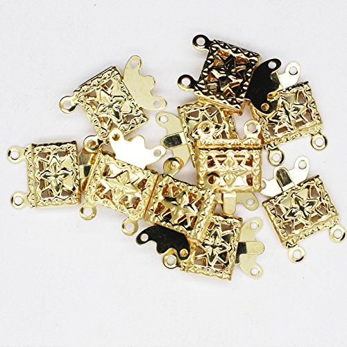 Necklace Clasp Goldtone Double Strand Filigree Box Style Pack of 10 (Jewelry Strand Double)