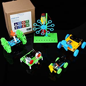 5 Set STEM Kit,DC Motors Mini Motor Electronic Assembly Kit Intro to Engineering, Cars, Circuit Building DIY Science Experiments Projects for Kids and Teens