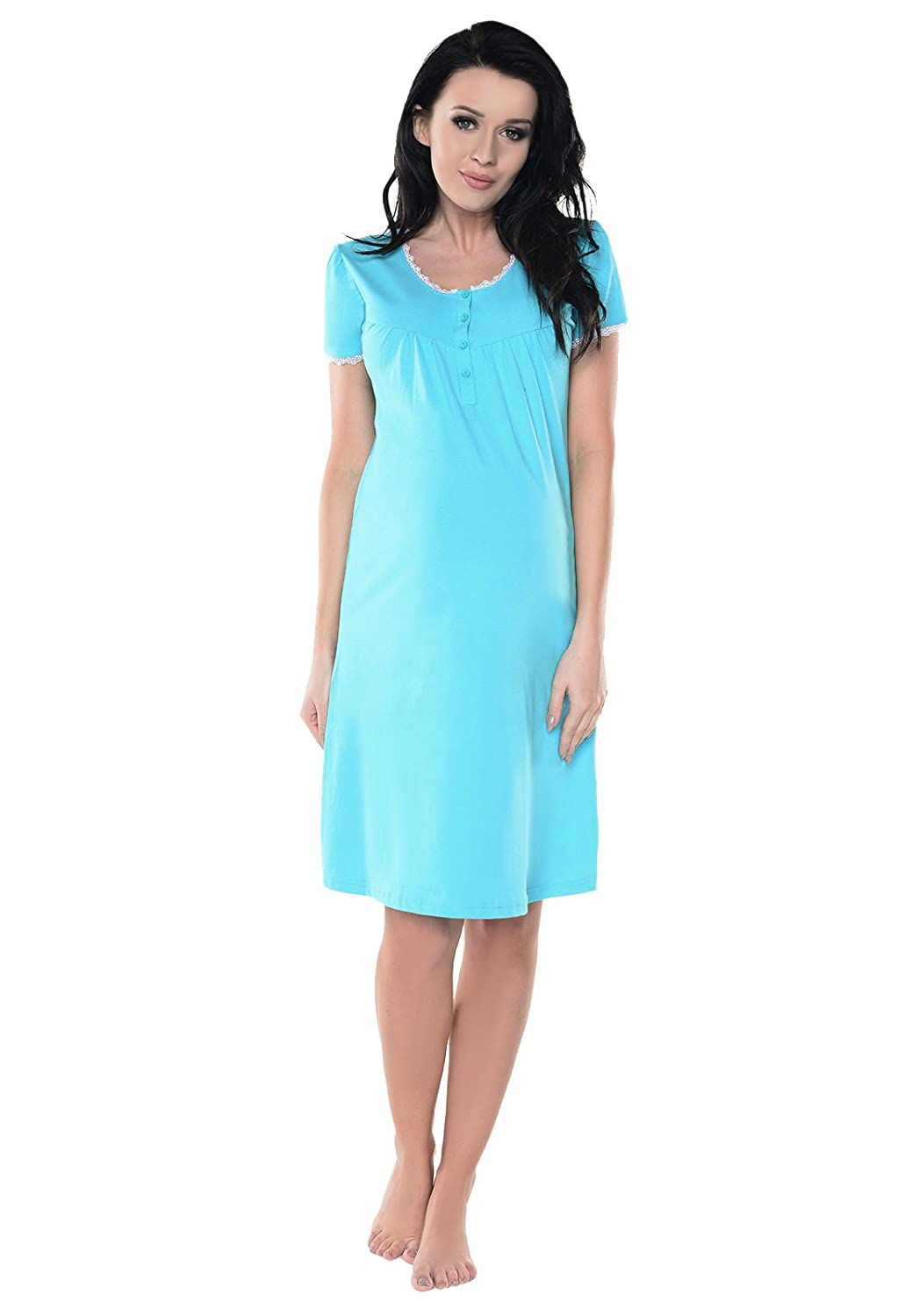 6dd74f624e3 Purpless Maternity Pregnancy Nursing Nightie Lace Detail Nightdress for Pregnant  Breastfeeding Women 6066n  Amazon.ca  Clothing   Accessories