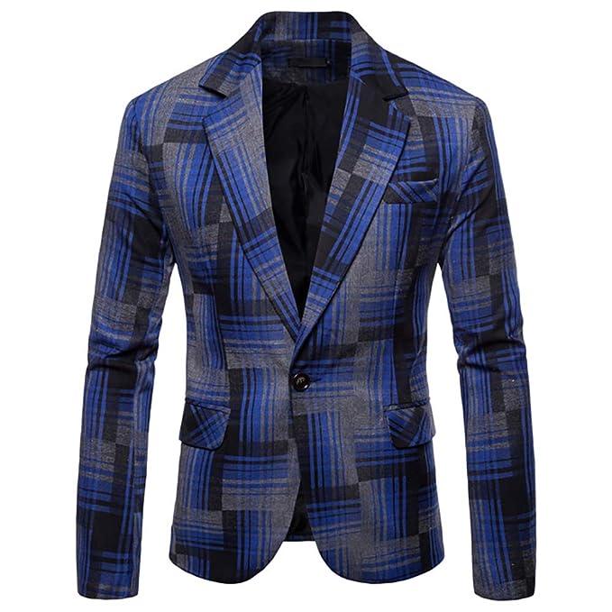 Amazon.com: Plaid - Chaqueta para hombre, ajustada, formal ...