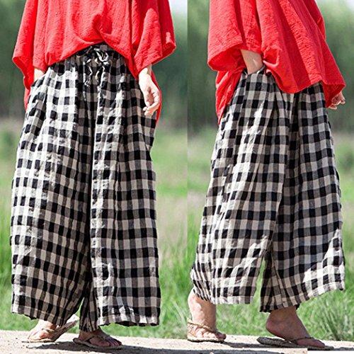 lunghi cascante Pantaloni tasche Donna pantaloni Coulisse Italily Gamba Donne Boho Comodi Pantalone Casuale Nero un'occhiata Yoga Pantaloni Casuale Dai Largo sciolto Plaid larga qXvYw0v