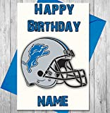 AKGifts American Football Detroit Lions - Personalised Birthday Card - Any name and age printed on the front (7 - 10 BUSINESS DAYS DELIVERY FROM UK)