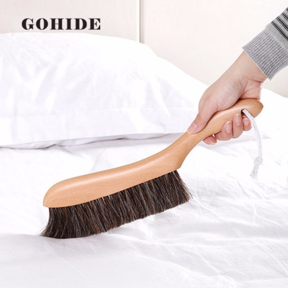 Gohide A Soft Cleaning Brush with Natural Solid Wood Handle and Natural Bristle Brush for Clothes Cleaning, Dust Hair, Sofa, Bed, Bedspread, Carpet Cleaning L:34.5cm, W:8.5cm, H:2.0cm (L) XCX by GOHIDE (Image #1)