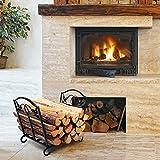 Amagabeli Fireplace Log Holder Wrought Iron