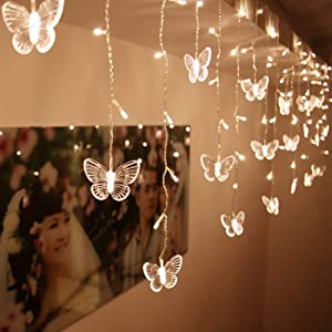 BJYHIYH Led Curtain Lights USB Powered 8 Modes Window Curtain String Lights 10 Butterflies Twinkle Lights for Christmas Dorm Room Decoration(Warm White)
