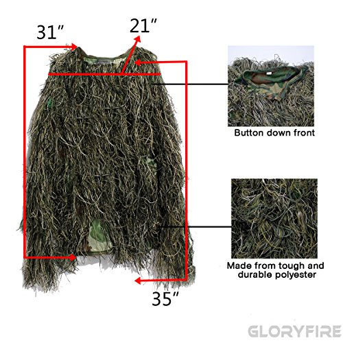Review GLORYFIRE Ghillie Suit Woodland Forest Camouflage Hunting Apparel for Wargame Wildlife Photography Shooting Halloween Airsoft Paintball 3D Tactical Wear Conceal Suit Gun Cover Head Cover 5PCS XL/XXL