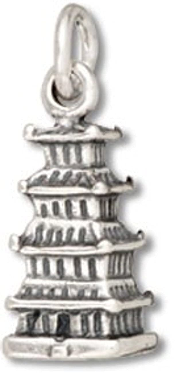 Sterling Silver Girls .8mm Box Chain 3D Chinese Japanese Buddhist Temple Pagoda Pendant Necklace