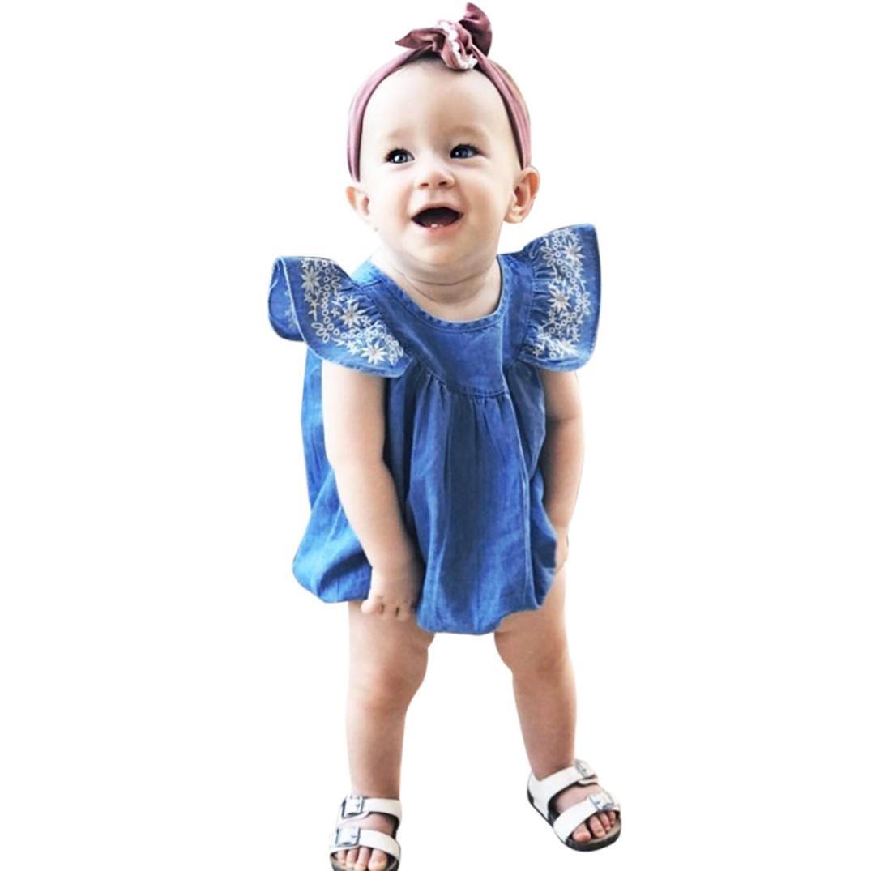 Morwind ♛Pagliaccetto Neonato Estivi♛Neonato Bambine Volare Manica Ricamare Abiti Tuta Romper Denim Abiti Neonato Tutto Neonati Abbigliamento Estivo Pagliaccetto