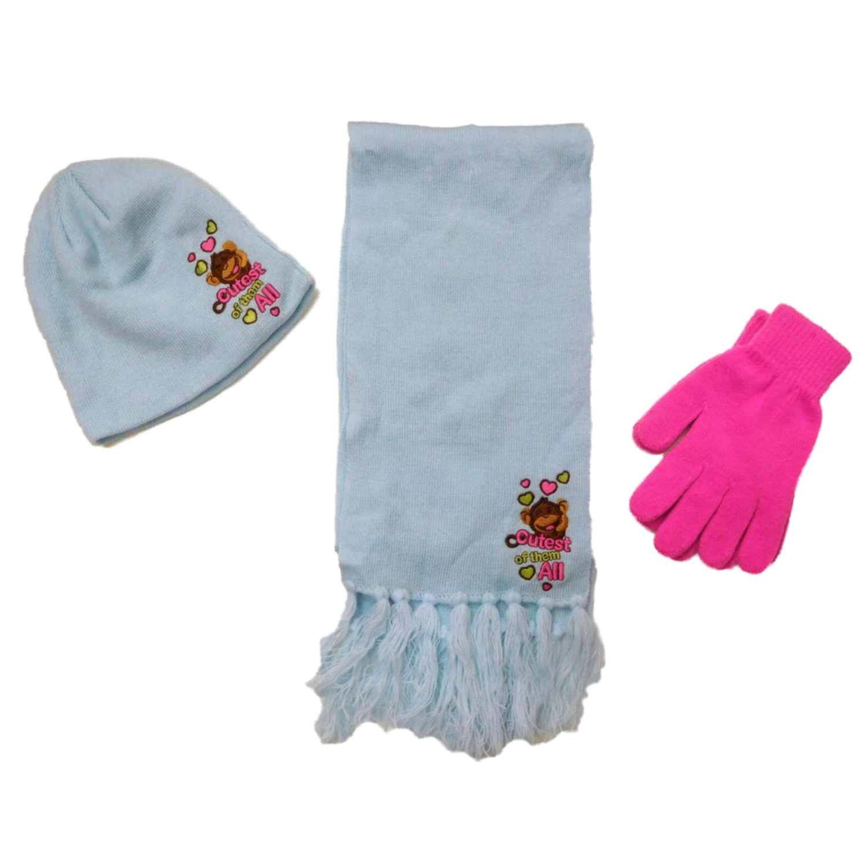 Girls Blue Love Monkey Beanie Hat Gloves & Scarf Set