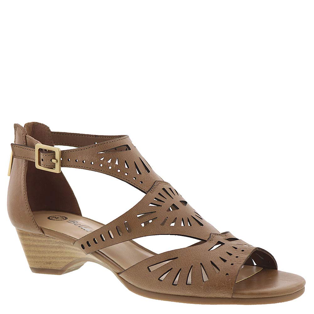 Saddle Burnish Leather Bella Vita Womens Penny Cutout Sandal with Back Zipper Heeled Sandal