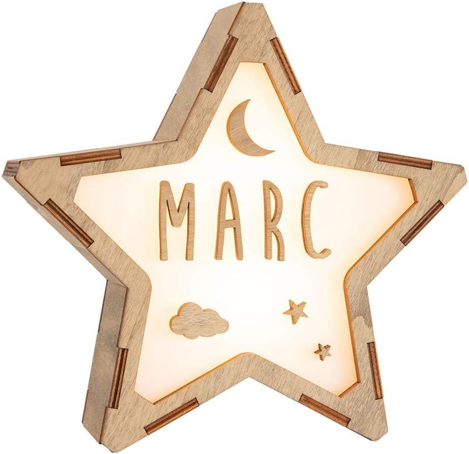 VINTIUN Lampara Infantil Quitamiedos para Niños/Bebé en forma de Estrella. Luz Nocturna Personalizable con Tu Nombre (Corriente)