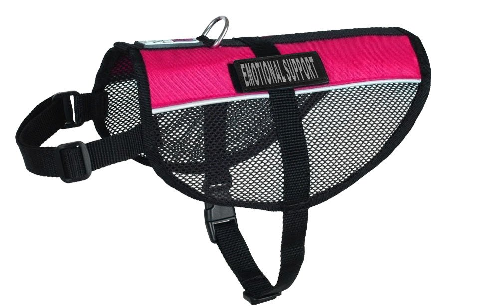 Dogline MaxAire Multi-Purpose Mesh Vest for Dogs and 2 Removable EMOTIONAL SUPPORT Patches, 30 to 38'', Pink