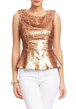 0071ee3388b 2B Leila Sequin Peplum Top 2b Woven Tops Rose Gold-xxs at Amazon ...