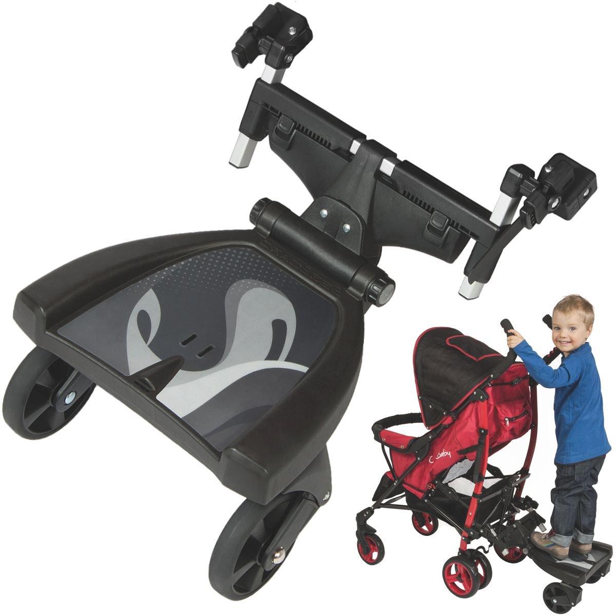 Erweiterung Buggy Board Trittbrett f/ür Kinderwagen Buggy Sportwagen Jogger//Zusatzsitz mit Sicherheitsgriff 3-fach verstellbar Buggy-Board
