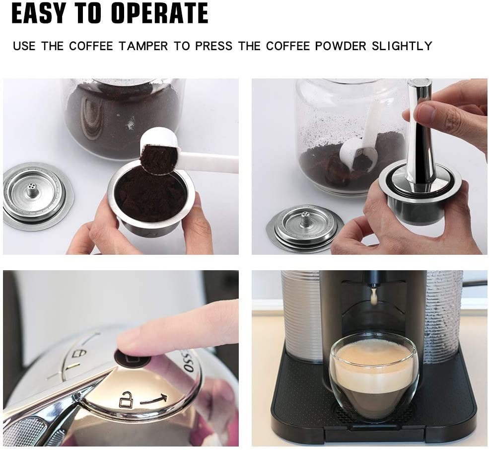 SNOWINSPRING Capsula da caff/è 240 Ml Set di Filtri da caff/è Riutilizzabili per Macchina da caff/è Espresso Vertuo Capsule Pod Vertuoline