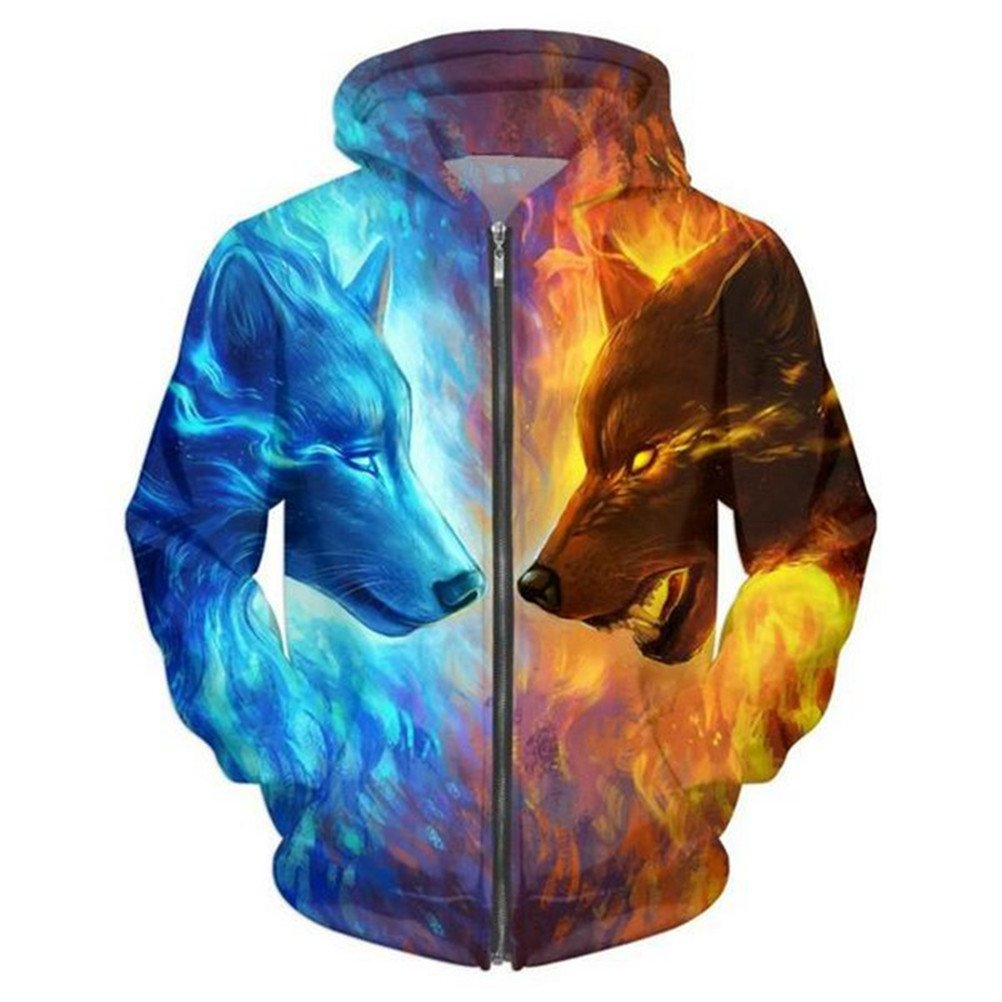 Men//Women Funny 3D Hoodies Mens Animal Ice and Fire Wolf 3D Printed Sweatshirt Fashion Casual Jacket Men Plus Size 5XL